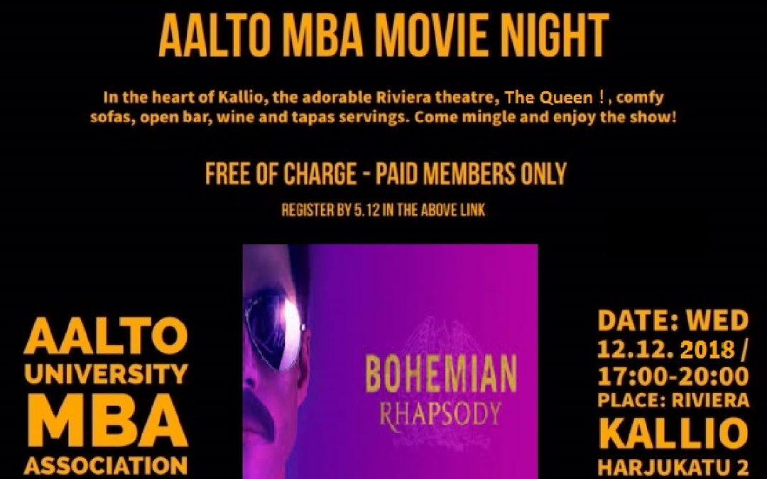 MBA Movie Night on December 12th at 17:00